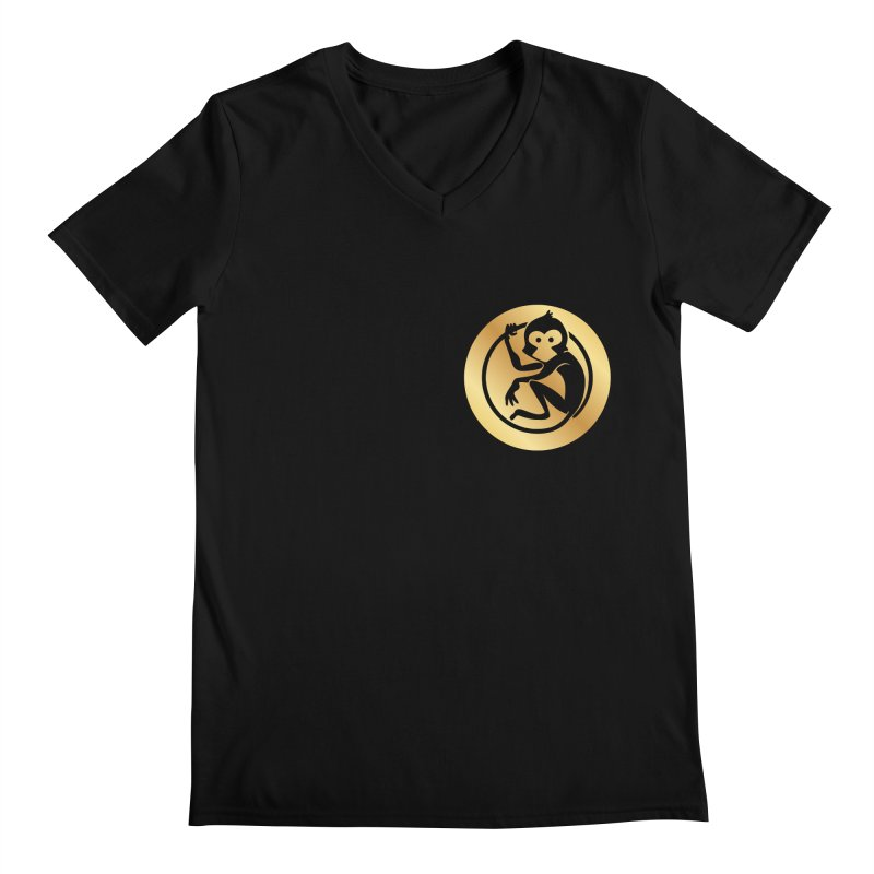 Monkey Gold Small Logo Men's Regular V-Neck by The m0nk3y Merchandise Store