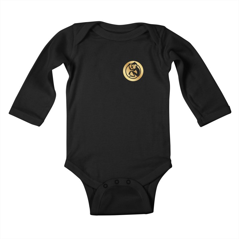 Monkey Gold Small Logo Kids Baby Longsleeve Bodysuit by The m0nk3y Merchandise Store