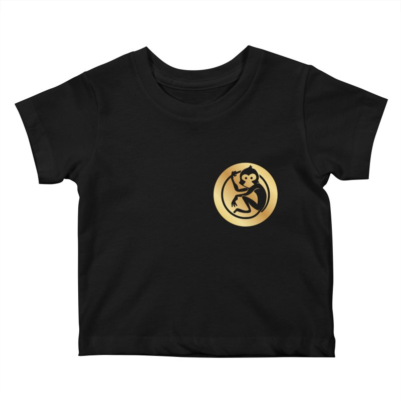 Monkey Gold Small Logo Kids Baby T-Shirt by The m0nk3y Merchandise Store