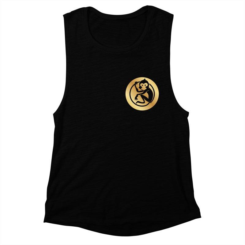 Monkey Gold Small Logo Women's Muscle Tank by The m0nk3y Merchandise Store