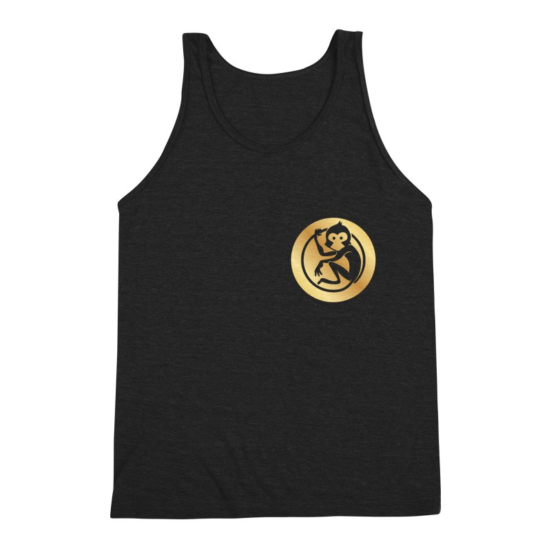 Monkey Gold Small Logo Men's Triblend Tank by The m0nk3y Merchandise Store