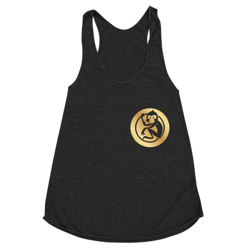 Monkey Gold Small Logo Women's Racerback Triblend Tank by The m0nk3y Merchandise Store