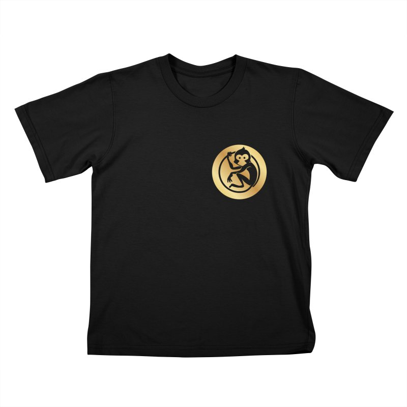 Monkey Gold Small Logo Kids T-Shirt by The m0nk3y Merchandise Store