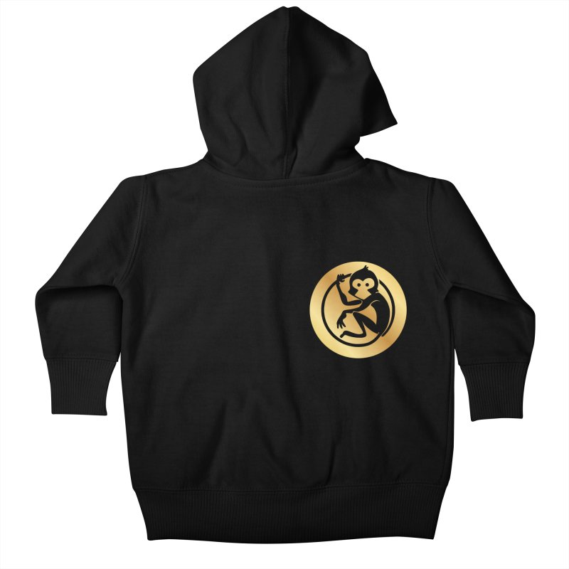 Monkey Gold Small Logo Kids Baby Zip-Up Hoody by The m0nk3y Merchandise Store