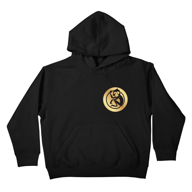 Monkey Gold Small Logo Kids Pullover Hoody by The m0nk3y Merchandise Store