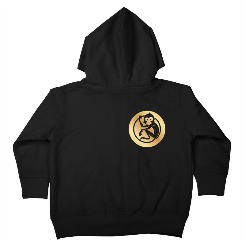 Monkey Gold Small Logo Kids Toddler Zip-Up Hoody by The m0nk3y Merchandise Store