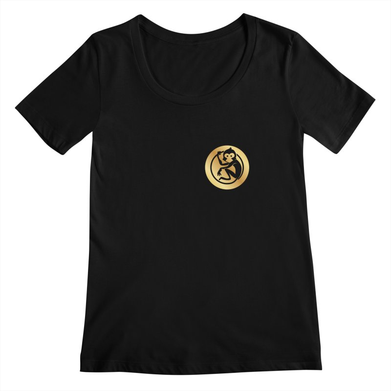 Monkey Gold Small Logo Women's Regular Scoop Neck by The m0nk3y Merchandise Store