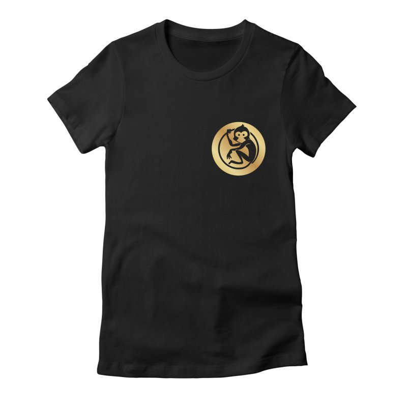 Monkey Gold Small Logo Women's Fitted T-Shirt by The m0nk3y Merchandise Store