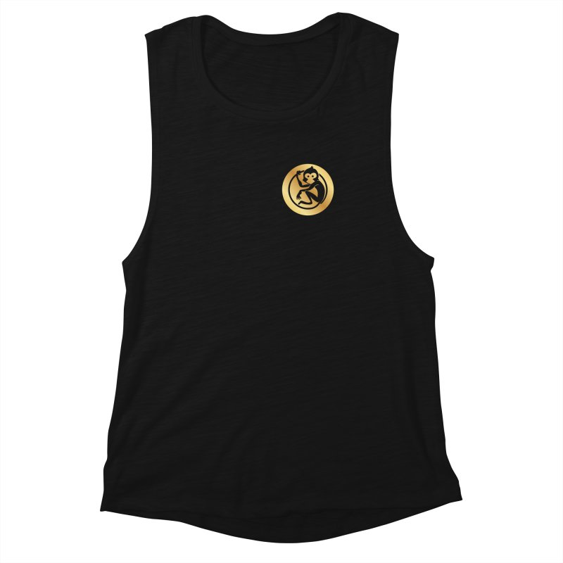 Monkey Gold Small Logo Women's Muscle Tank by The m0nk3y Merchandise Store
