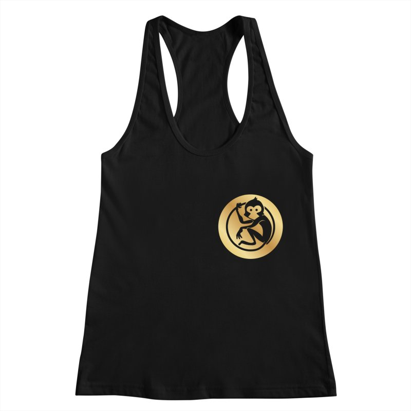 Monkey Gold Small Logo Women's Racerback Tank by The m0nk3y Merchandise Store