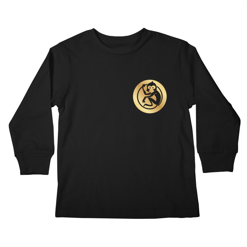 Monkey Gold Small Logo Kids Longsleeve T-Shirt by The m0nk3y Merchandise Store