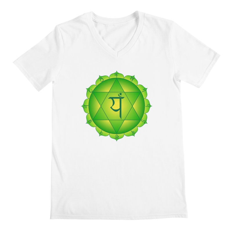 Anahata: Heart Chakra Men's Regular V-Neck by Moon Jewel