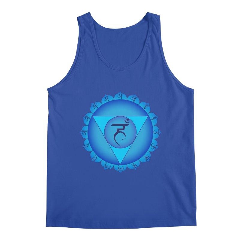 Vissuddhi: Throat Chakra in Men's Regular Tank Royal Blue by Moon Jewel