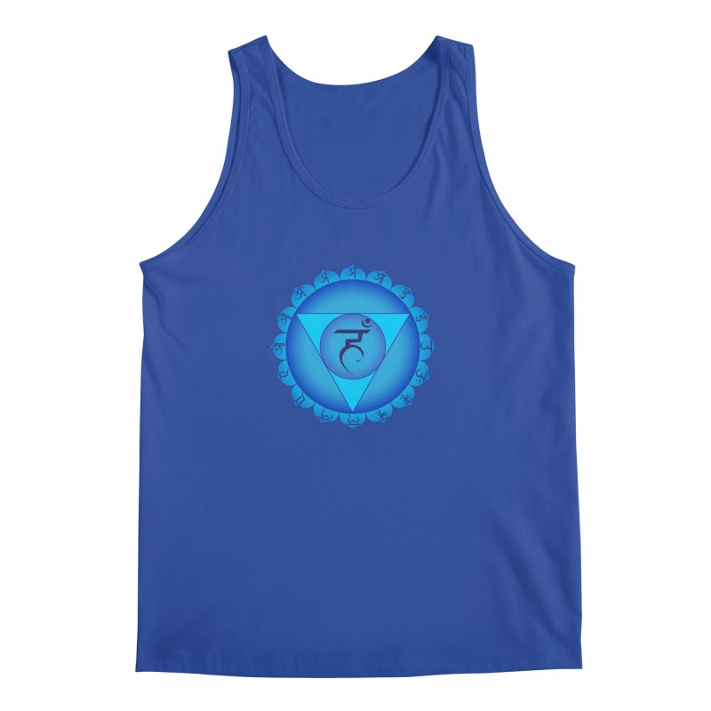 Vissuddhi: Throat Chakra in Men's Regular Tank Royal Blue by Moon Jewel