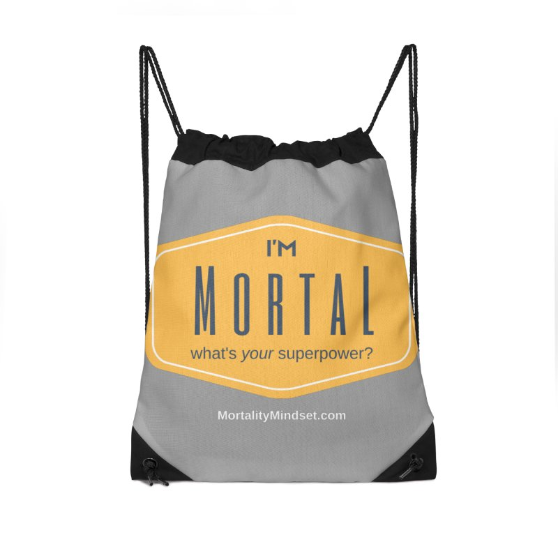 What's your superpower? (white text) Accessories Drawstring Bag Bag by The MortalityMindset Shop