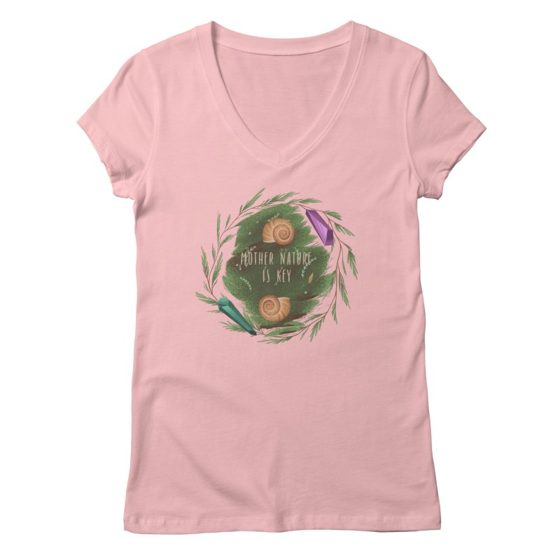 Mother Nature Is Key Women's Regular V-Neck by Mountain View Co