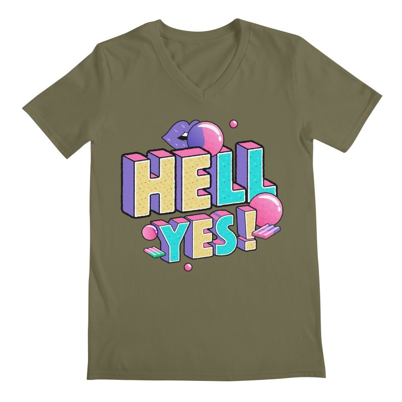 Hell Yes Men's Regular V-Neck by Mountain View Co