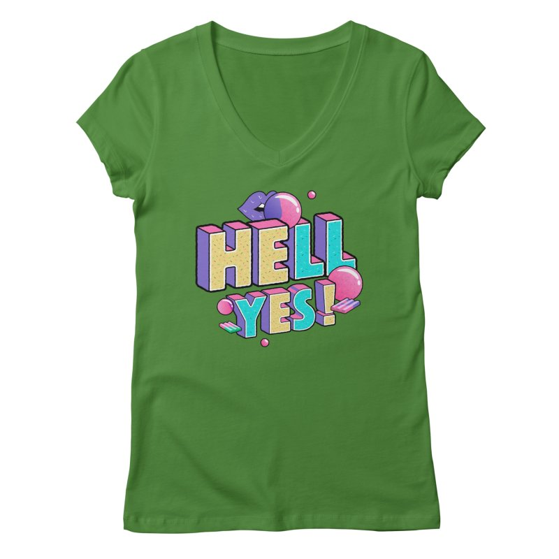 Hell Yes Women's Regular V-Neck by Mountain View Co