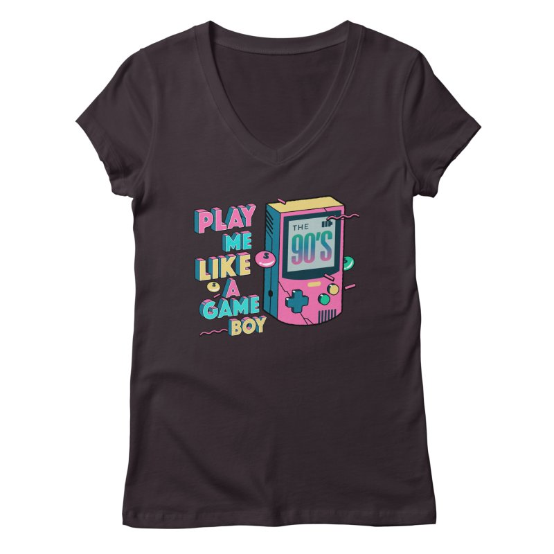 Play Me Like A Game Boy (Threadless Exclusive) Women's Regular V-Neck by Mountain View Co