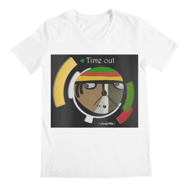 Time Out Men's V-Neck by Mozayic's Artist Shop