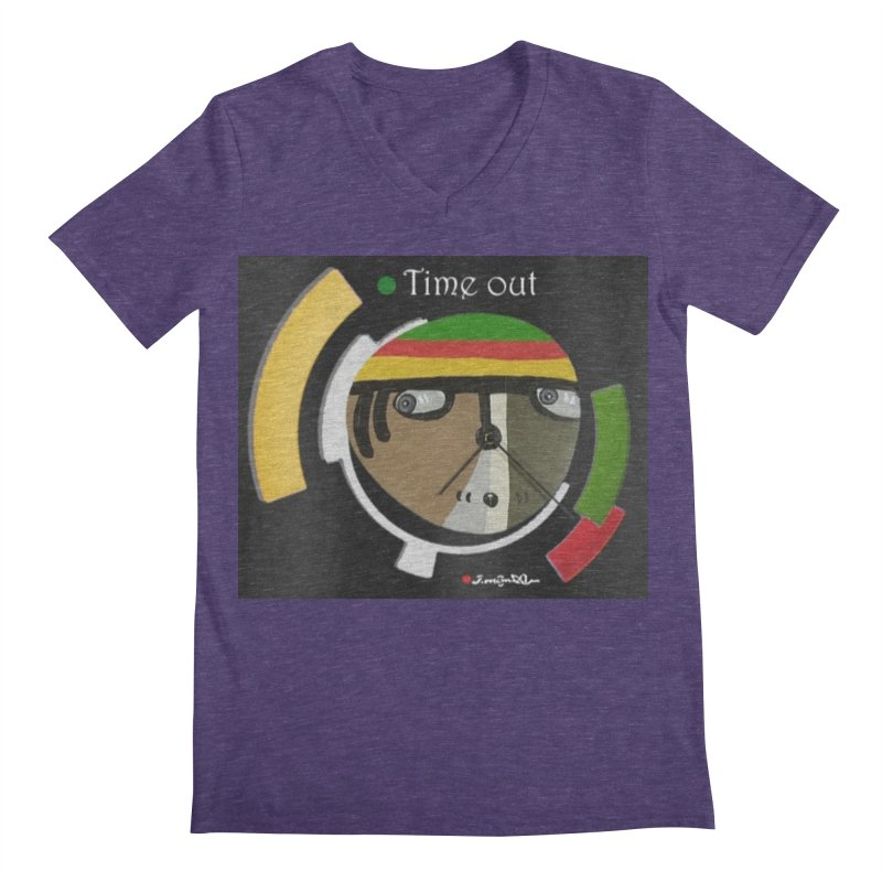 Time Out Men's Regular V-Neck by Mozayic's Artist Shop