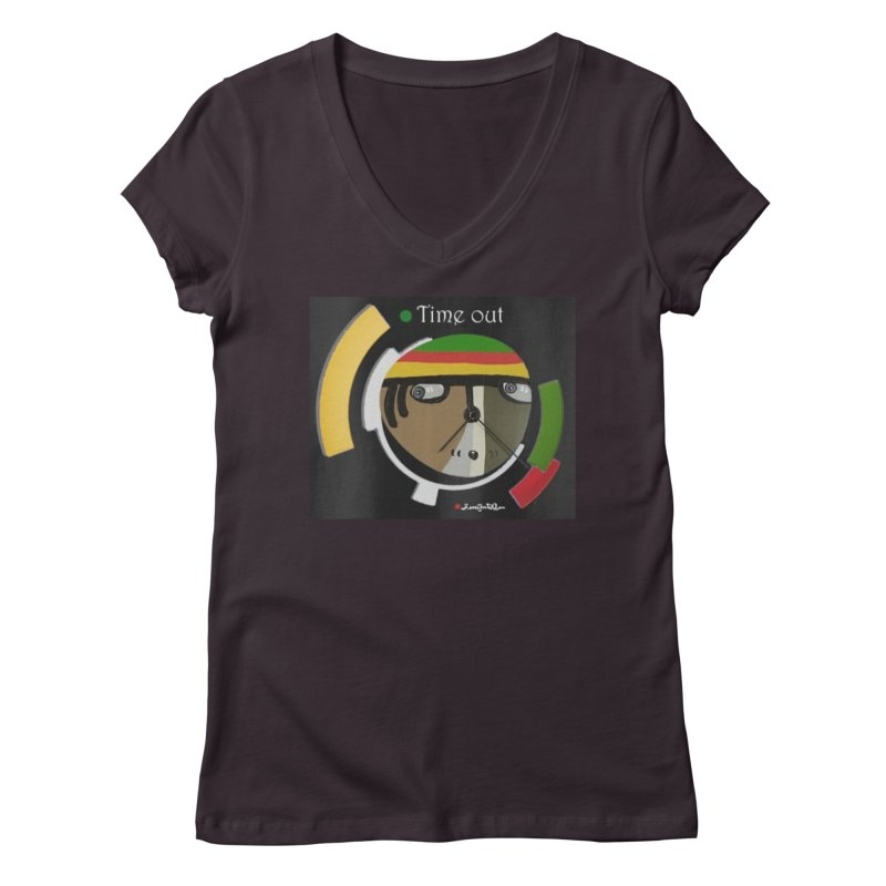 Time Out Women's Regular V-Neck by Mozayic's Artist Shop