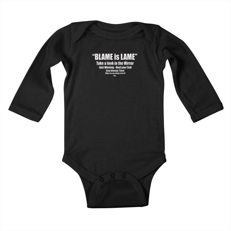 Blame is Lame (Dark Shirts) Kids Baby Longsleeve Bodysuit by Mr Tee's Artist Shop