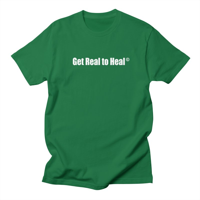 Get Real to Heal - White (no signature) Men's Regular T-Shirt by Mr Tee's Artist Shop