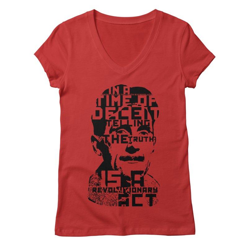 Orwell 'Deceit' (Black Style) Women's V-Neck by Mr Tee's Artist Shop