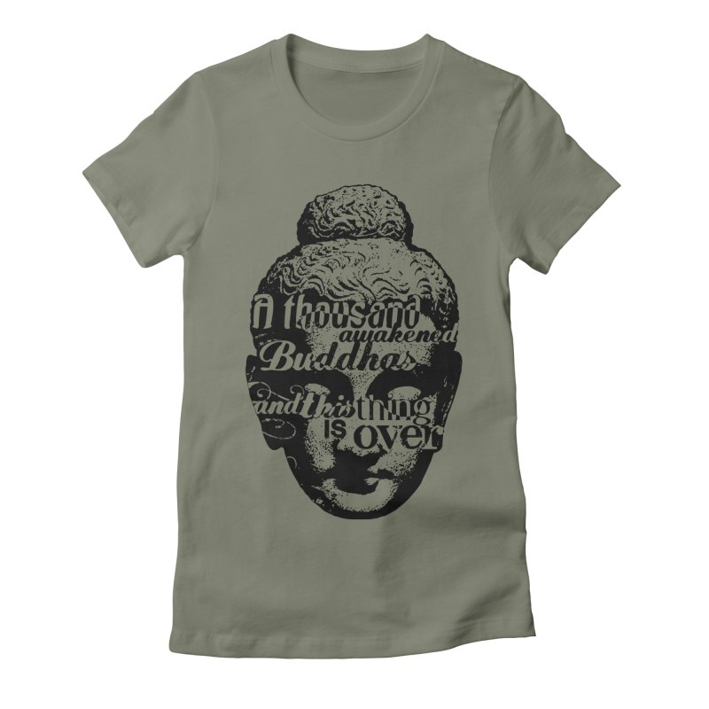 A Thousand Awakened Buddhas - V2 in Women's Fitted T-Shirt Light Olive by Mr Tee's Artist Shop