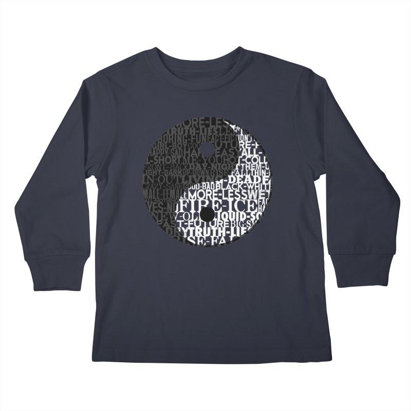 A World of Opposites Kids Longsleeve T-Shirt by Mr Tee's Artist Shop
