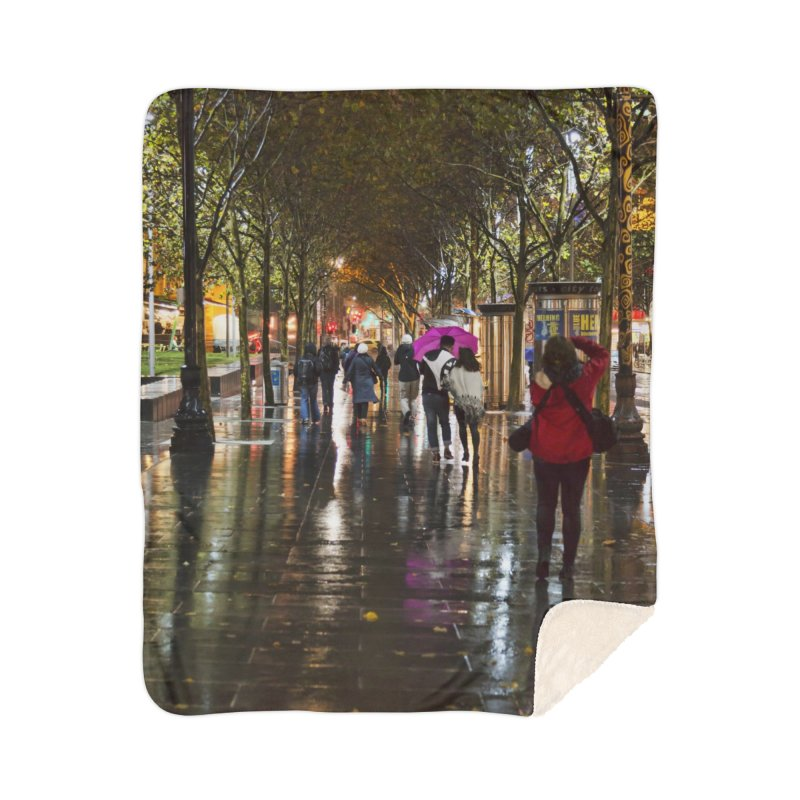 Beautiful Wet Night in the City Home Sherpa Blanket Blanket by Mrc's Artist Shop