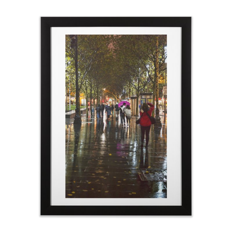 Beautiful Wet Night in the City in Framed Fine Art Print Black by Mrc's Artist Shop