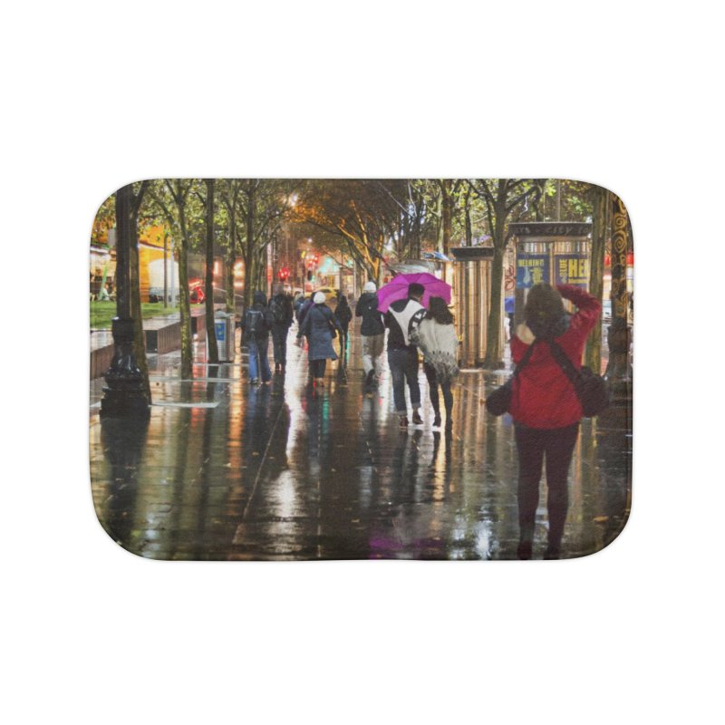 Beautiful Wet Night in the City Home Bath Mat by Mrc's Artist Shop