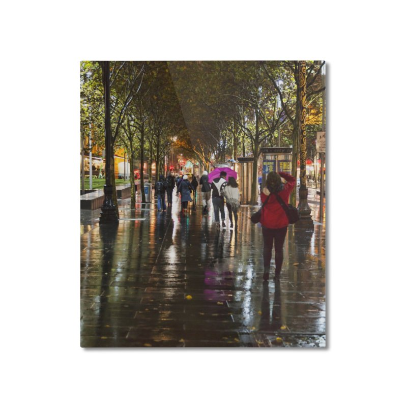 Beautiful Wet Night in the City Home Mounted Aluminum Print by Mrc's Artist Shop