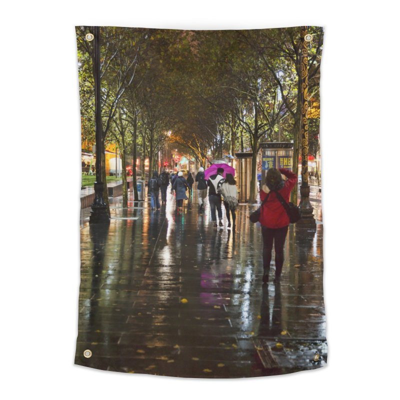 Beautiful Wet Night in the City Home Tapestry by Mrc's Artist Shop