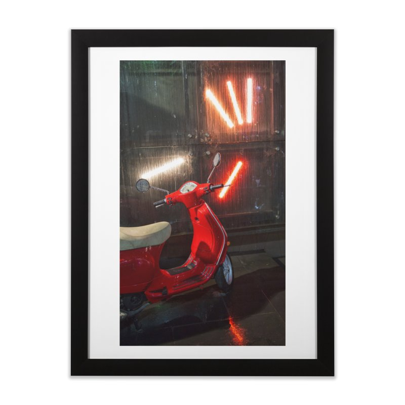 Wet Red Bike in Framed Fine Art Print Black by Mrc's Artist Shop