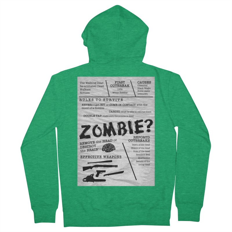 Zombie? Men's French Terry Zip-Up Hoody by Mrc's Artist Shop