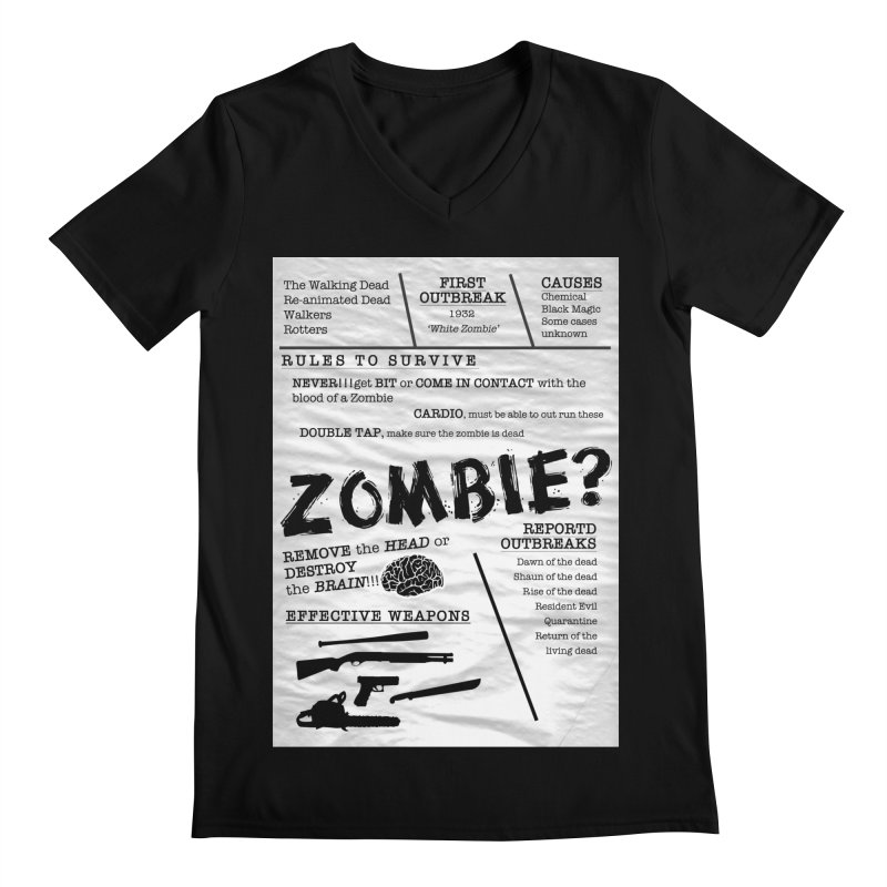Zombie? Men's Regular V-Neck by Mrc's Artist Shop
