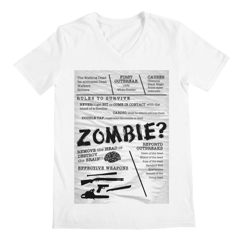 Zombie? Men's V-Neck by Mrc's Artist Shop