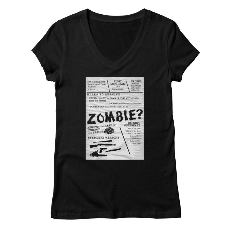 Zombie? Women's V-Neck by Mrc's Artist Shop