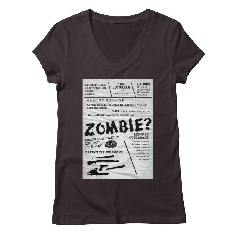 Zombie? Women's Regular V-Neck by Mrc's Artist Shop