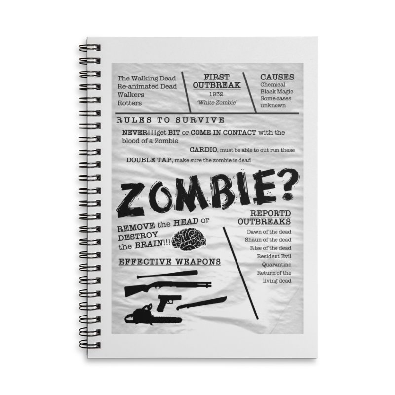 Zombie? Accessories Lined Spiral Notebook by Mrc's Artist Shop