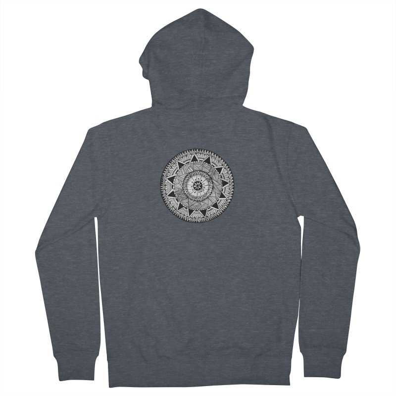 Hand Drawn Mandala Men's French Terry Zip-Up Hoody by Mrc's Artist Shop