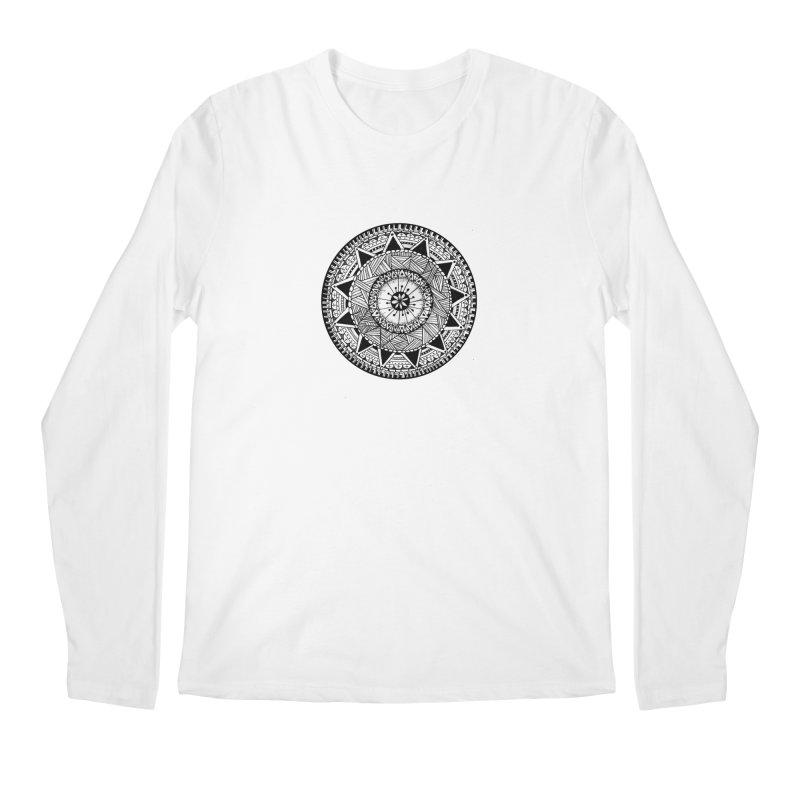 Hand Drawn Mandala Men's Regular Longsleeve T-Shirt by Mrc's Artist Shop