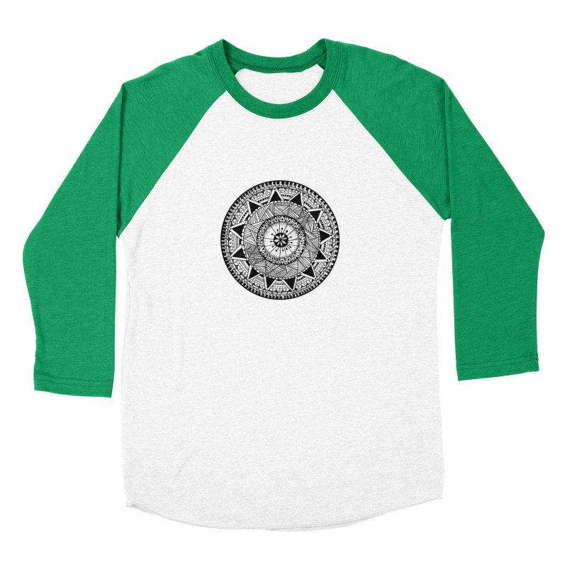 Hand Drawn Mandala Men's Baseball Triblend T-Shirt by Mrc's Artist Shop