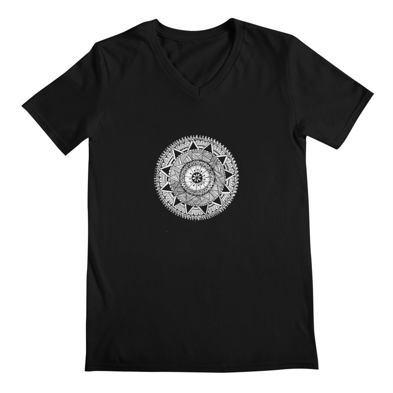Hand Drawn Mandala Men's V-Neck by Mrc's Artist Shop