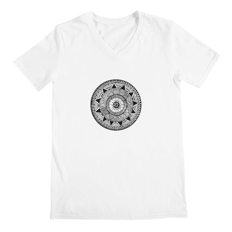 Hand Drawn Mandala Men's Regular V-Neck by Mrc's Artist Shop