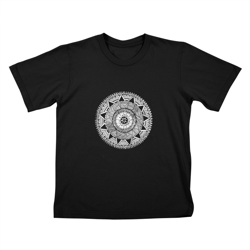 Hand Drawn Mandala Kids T-Shirt by Mrc's Artist Shop