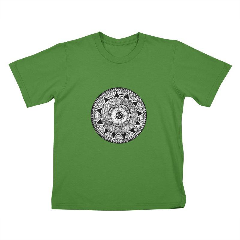 Hand Drawn Mandala Kids T-Shirt by Mrc's Artist Shop